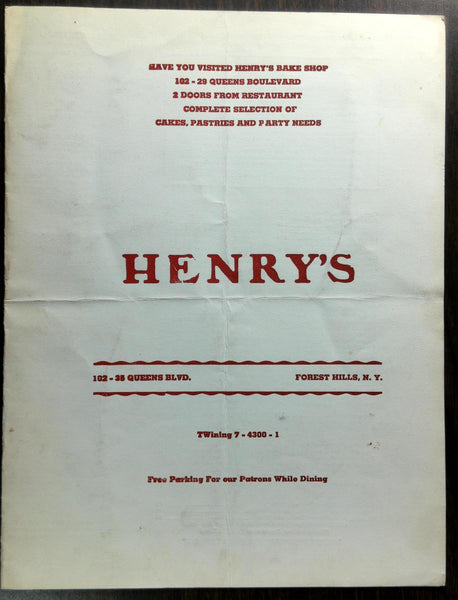 1959 Original Menu HENRY'S Hungarian Romanian Restaurant Forest Hills New York