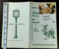 1959 Original Breakfast Menu LINTON'S Restaurant Philadelphia Pennsylvania
