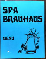 1960's Original Menu SPA BRAUHAUS German Restaurant Ballston Spa New York