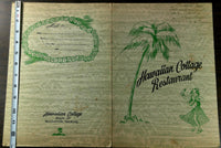 1954 Tiki Menu HAWAIIAN COTTAGE RESTAURANT Cherry Hill Merchantville New Jersey