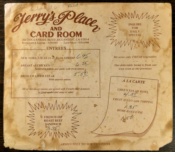 1970's Original Menu JERRY'S PLACE & CARD ROOM Restaurant Oceanside California