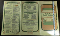 1970's Original Menu PARK PLAZA FAMILY RESTAURANT California Nash Family