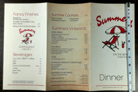 1985 Original Menu SUMMERS On The Beach Restaurant Cape May New Jersey