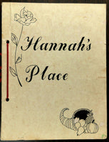 1980's Original Menu HANNAH'S PLACE Restaurant
