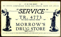 Old Ink Blotter Advertisement MORROW'S DRUG STORE