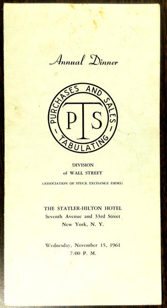 1961 WALL STREET PTS Purchases Sales Tabulating Statler Hilton Dinner Menu NY