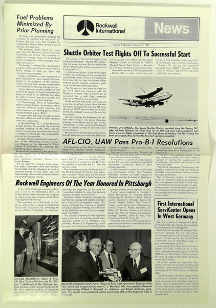 March 14 1977 ROCKWELL INTERNATIONAL NEWS B-1 Division Employee Newsletter