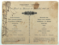 1917 WWI Packet Boat Menu Paquetbot CHICAGO German Prisoners In France Photo