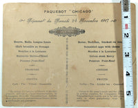 1917 WWI Packet Boat Menu Paquetbot CHICAGO French Naval Gun Photo
