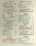 1961 Joe Vallera ITALIAN GRILL Restaurant Menu Los Angeles California