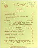 1962 Lunch Menu BARANOF HOTEL Restaurant Coffee Shop Juneau Alaska