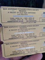 1990 Ticket San Antonio Conservation Society Night in Old San Antonio La Villita