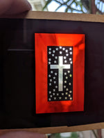 Antique Magic Lantern Glass Slide Red Stained Glass Cross With Stars