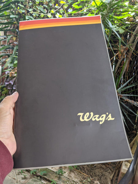 1980's Wag's Restaurant Vintage Laminated Large Size Photo Menu Walgreens