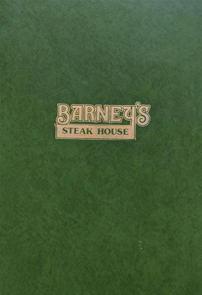 1980's Barney's Steak House Restaurant Original Vintage Menu Orlando Florida