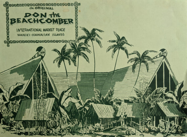 1960's Don The Beachcomber Menu International Market Place Waikiki Hawaii Tiki