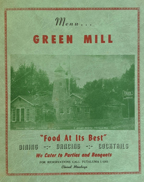 1950's Green Mill Inn Restaurant Penngrove Petaluma California Vintage Menu