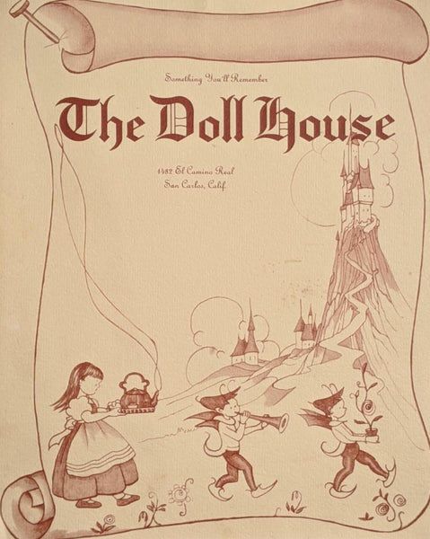 1950's The Doll House Restaurant San Carlos California Vintage Menu
