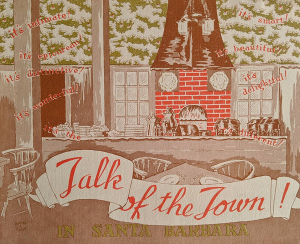 1948 Talk Of The Town Restaurant Santa Barbara California Vintage Menu