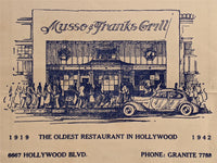 1942 Musso & Franks Grill Hollywood California Original Vintage Menu