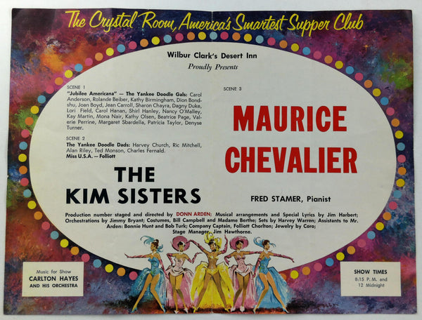 Brochure Desert Inn Crystal Room Maurice Chevalier The Kim Sisters Fred Stamer