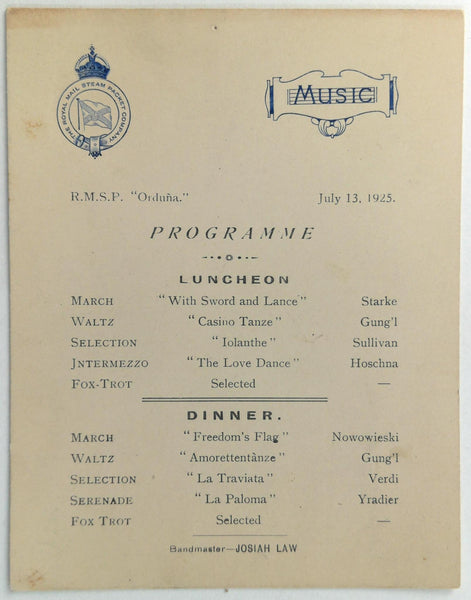 1925 RMSP Royal Mail Steam Packet Orduna Ship Music Program Josia Law Waltz