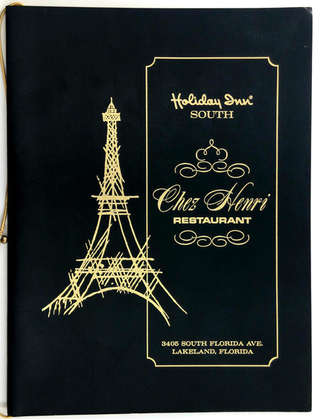 1970's Holiday Inn South Chez Henri Restaurant Lakeland Florida Vintage Menu