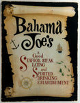 1980's Bahama Joe's Restaurant & Anne Bonnie's Tavern Menu Florida Locations