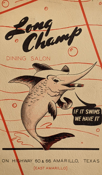 1948 Long Champ Dining Salon Seafood Restaurant Amarillo Texas Vintage Menu