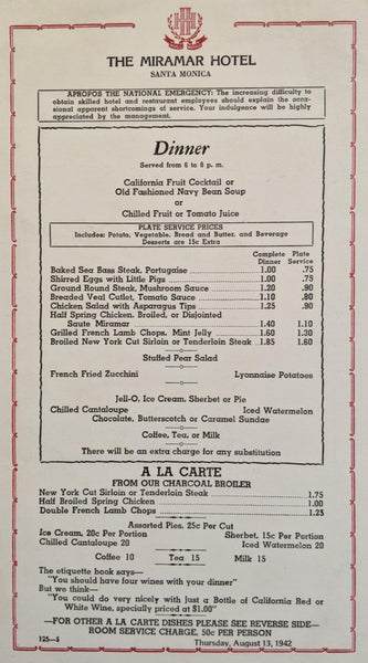 1942 The Miramar Hotel Restaurant Santa Monica California Vintage Menu Card