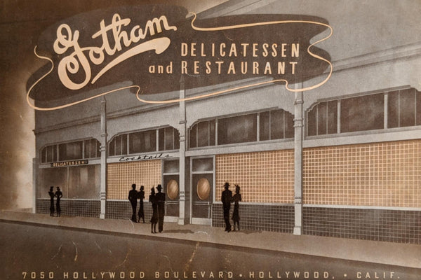 Rare 1942 Gotham Delicatessen Restaurant Hollywood Blvd. California Vintage Menu