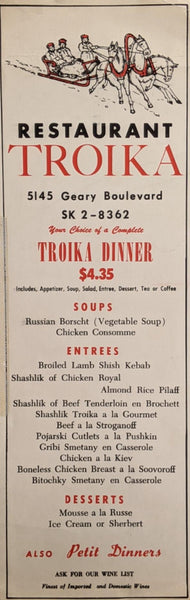 1960's Restaurant Troika Russian Cuisine San Francisco California Vintage Menu