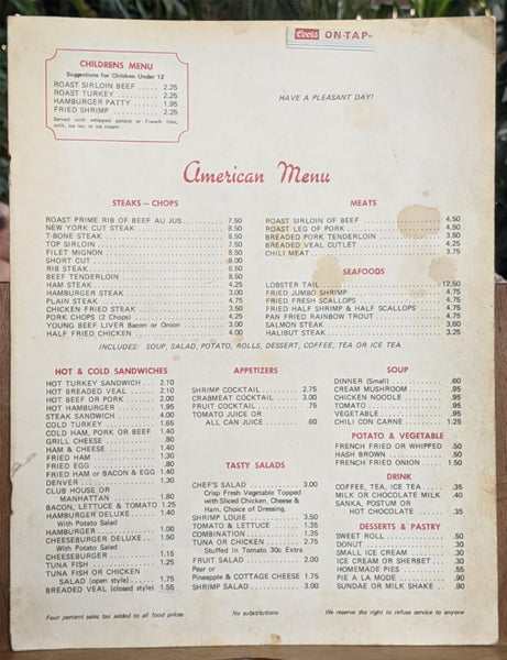 1970's Sands Cafe Chinese Restaurant Rock Springs Wyoming Vintage Menu & More