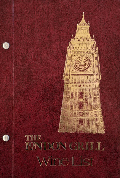 1970's The London Grill Wine List Menu Sommelier Marc S. Garner