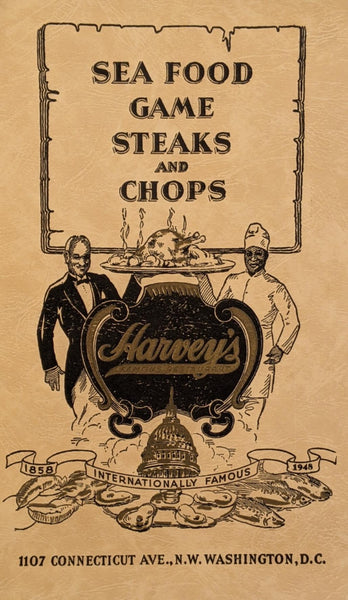1948 Harvey's Famous Restaurant Sea Food Game Steaks Chops Washington DC Menu