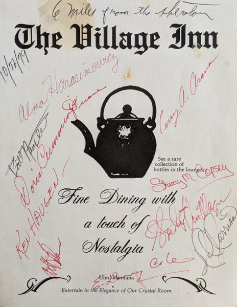 1979 The Village Inn Restaurant Ulm Montana Vintage Menu