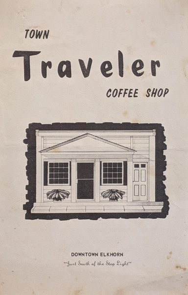 1960's Vintage Menu Town Traveler Coffee Shop Restaurant Elkhorn Wisconsin