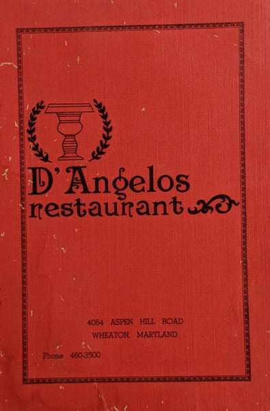 1970's D' Angelos Italian Restaurant Wheaton Maryland Vintage Menu