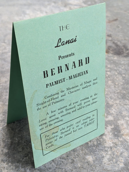 1950's The Lanai San Mateo California Bernard Magician Palmist Tarot Table Card