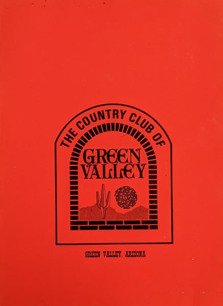 1970's The Country Club Of Green Valley Restaurant Arizona Vintage Menu