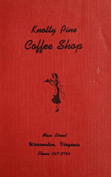 1960's Knotty Pine Coffee Shop Main St. Warrenton Virginia Vintage Menu