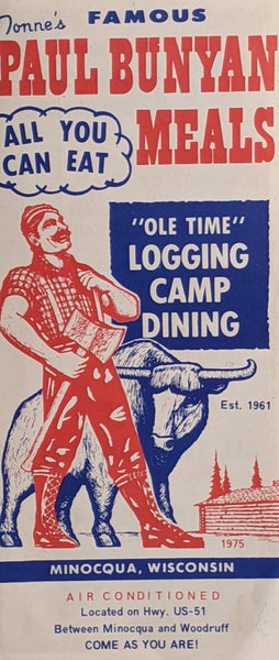 1975 Tonne's Famous Paul Bunyan Restaurant Minocqua Wisconsin Logging Camp Meals