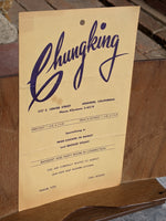 1958 Chungking Chop Suey House Restaurant Anaheim California Vintage Menu