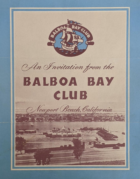 1940's 1950's Invite Brochure Balboa Bay Club Resort Newport Beach California