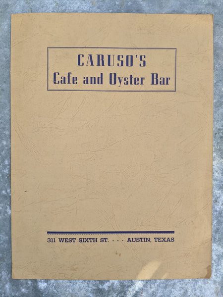 1940's Caruso's Cafe & Oyster Bar Restaurant Original Menu Austin Texas