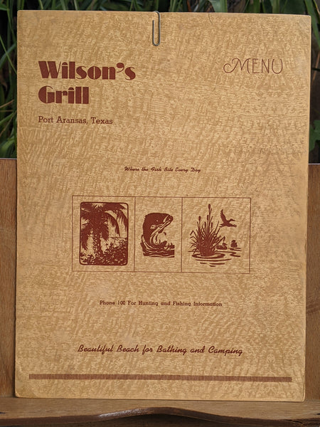 1940's Wilson's Grill Original Restaurant Menu Port Aransas Texas Woody Ousley