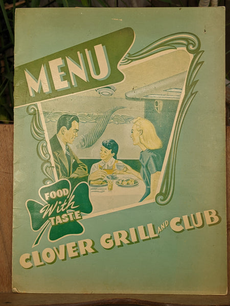 1940's Clover Grill & Club Restaurant Vintage Menu Fort Worth Texas