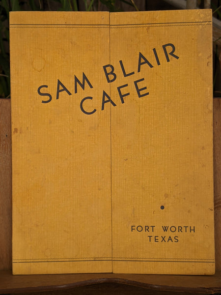 1940's Sam Blair Cafe Restaurant Vintage Menu Fort Worth Texas