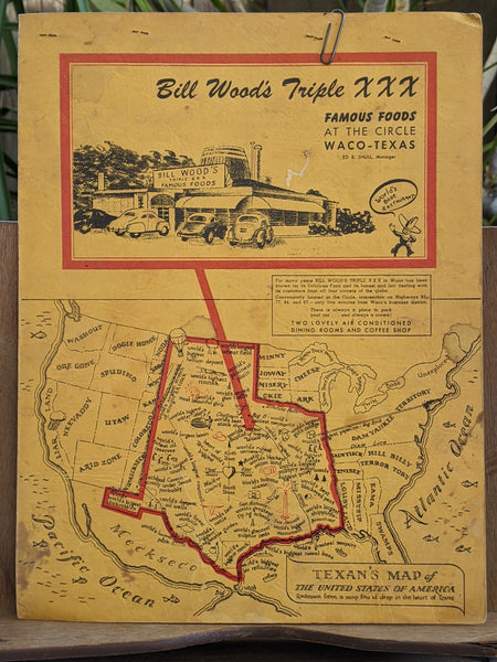 1940's Bill Wood's Triple XXX Famous Foods Restaurant Vintage Menu Waco Texas
