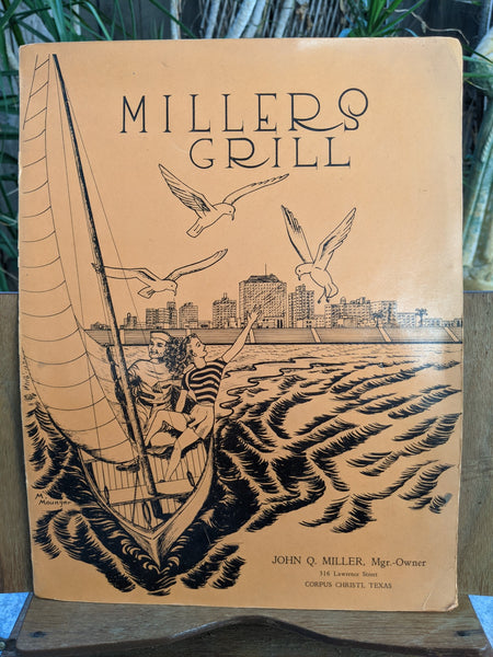 1940's Miller's Grill Restaurant Vintage Menu Corpus Christi Texas Sailing Cover